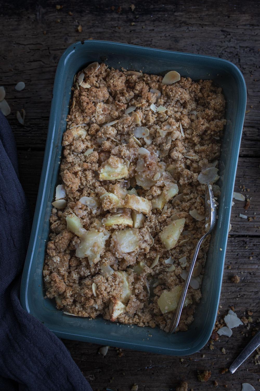 Rezept für Apfel Spekulatius Crumble