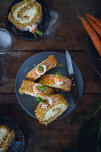 Rezept für Carrot Cake Biskuitrolle