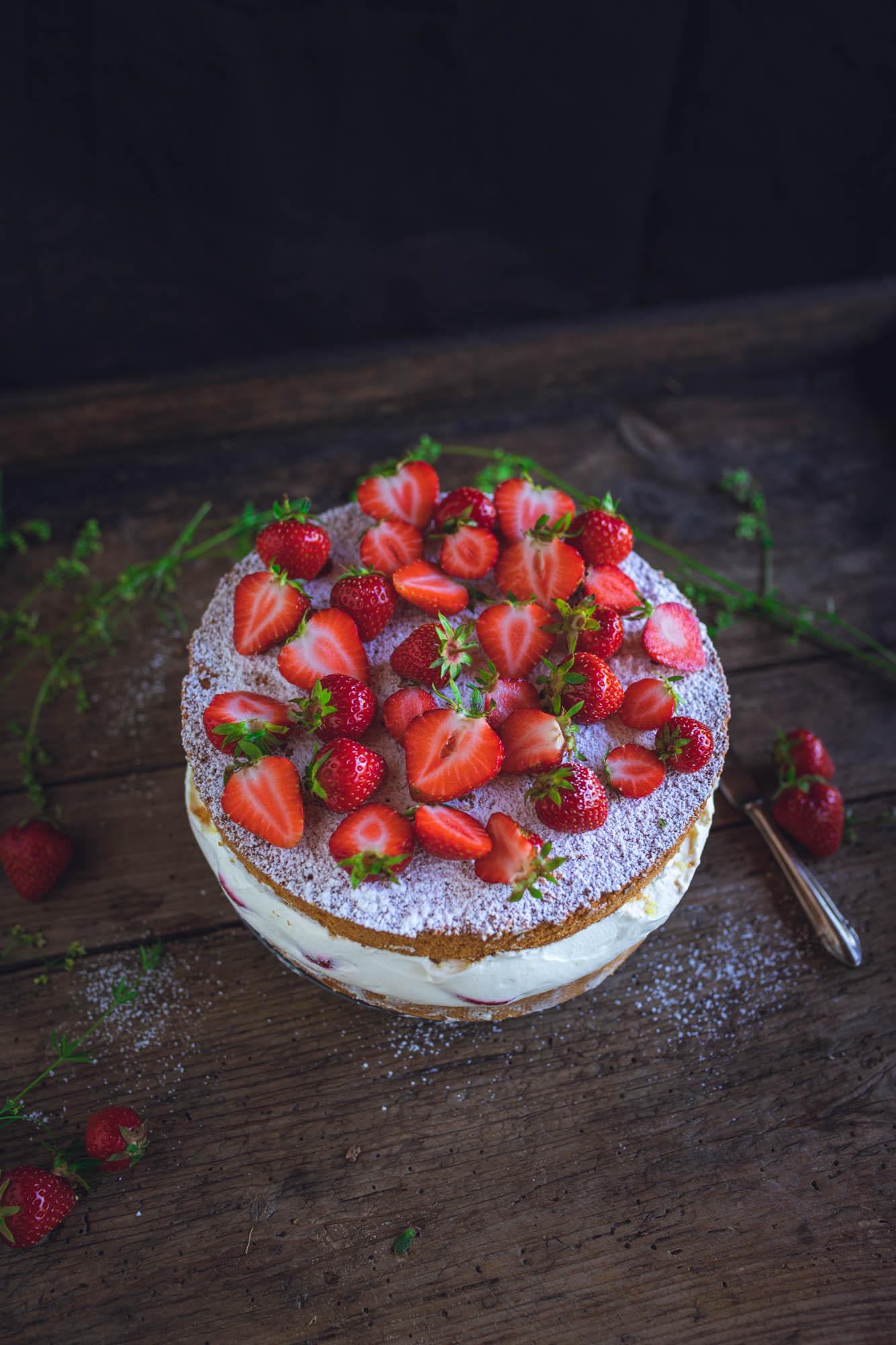 Rezept für Erdbeer-Käse-Sahne-Torte