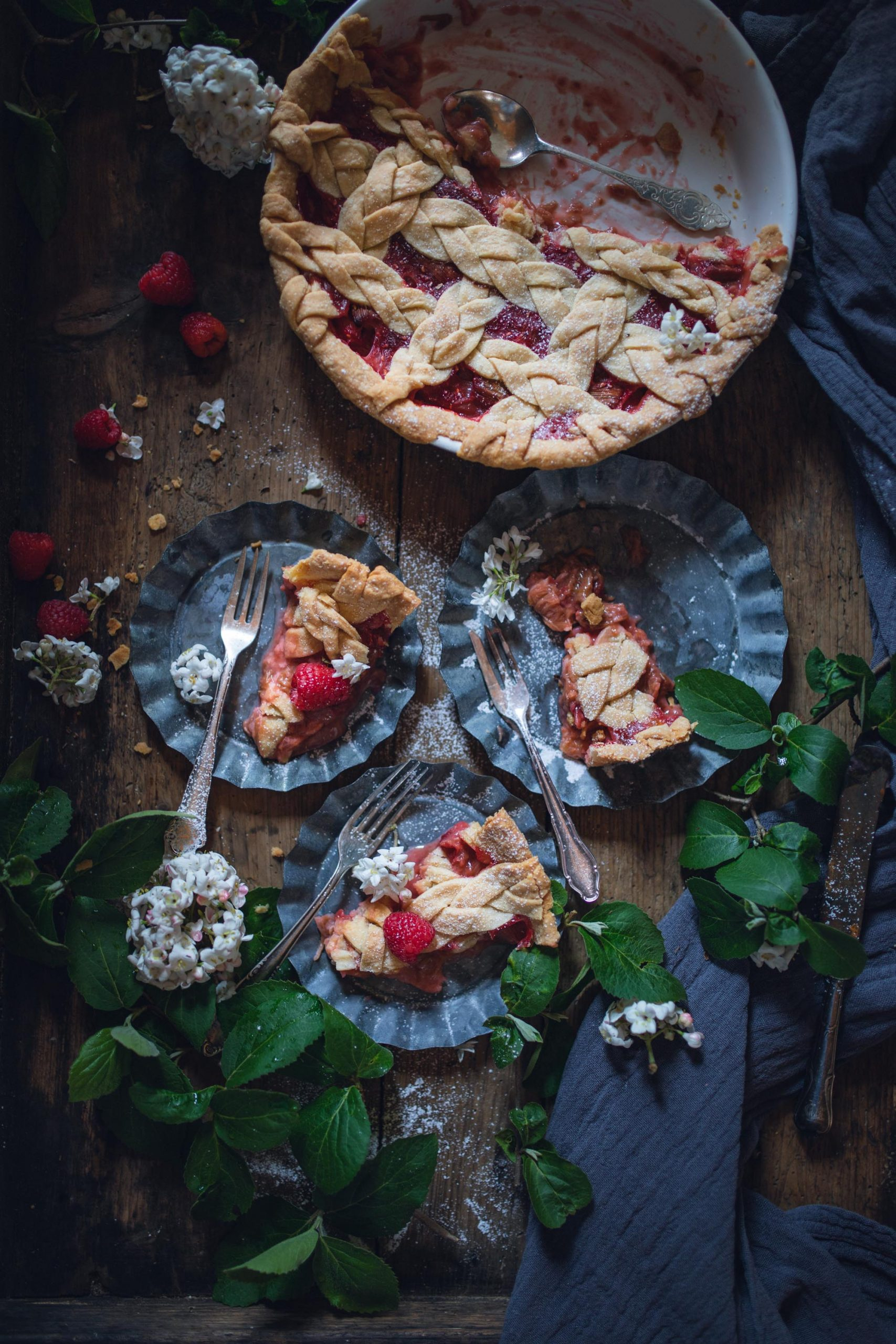 Rezept für Himbeer Rhabarber Pie