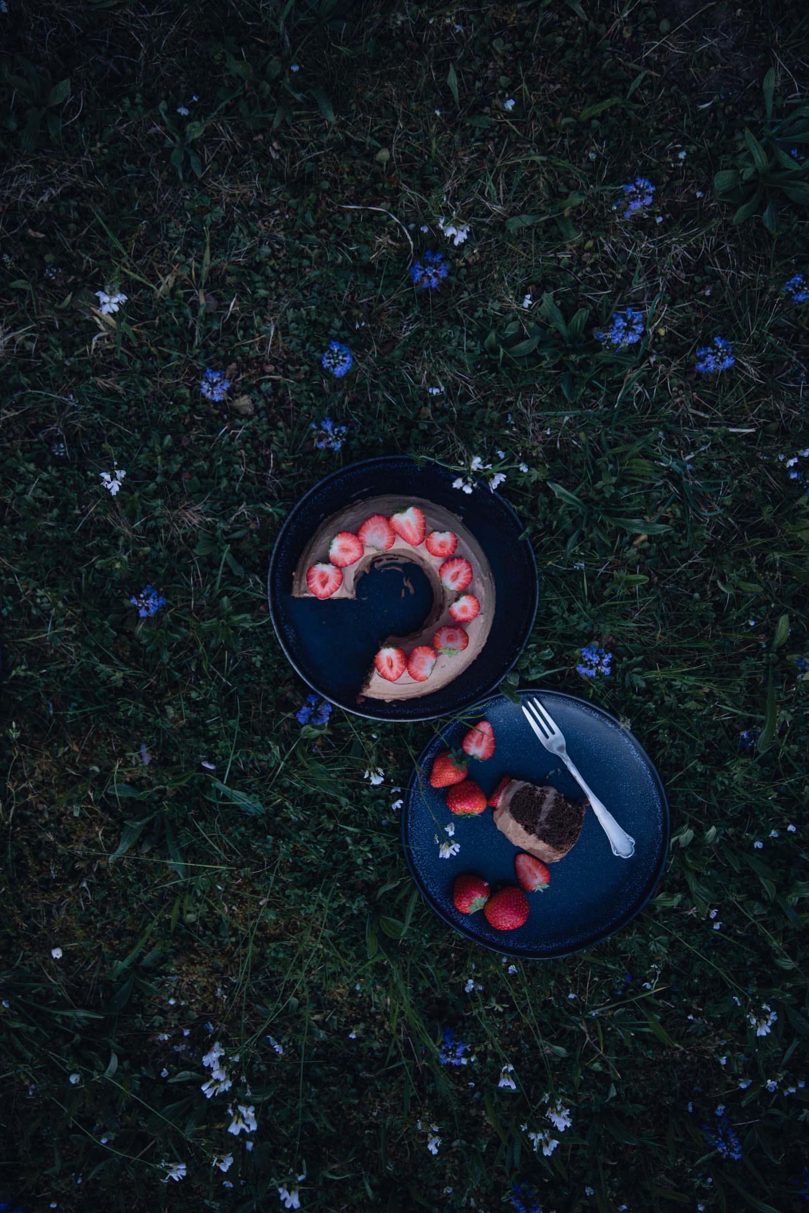 Schoko Nougat Torte mit Erdbeeren